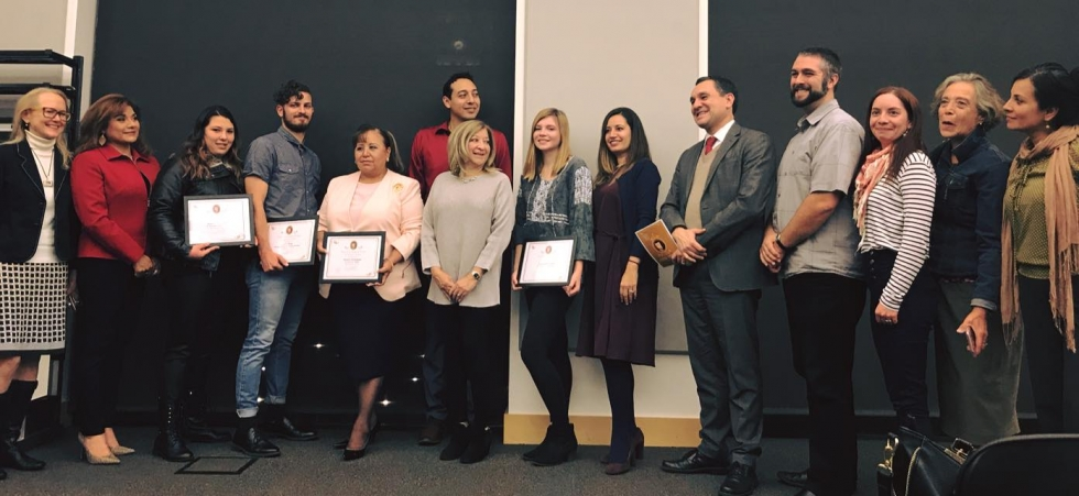 Artes de México staff and board members pose for a photo with last year's Sor Juana writing contest winners.              Photo courtesy of Artes de México en Utah