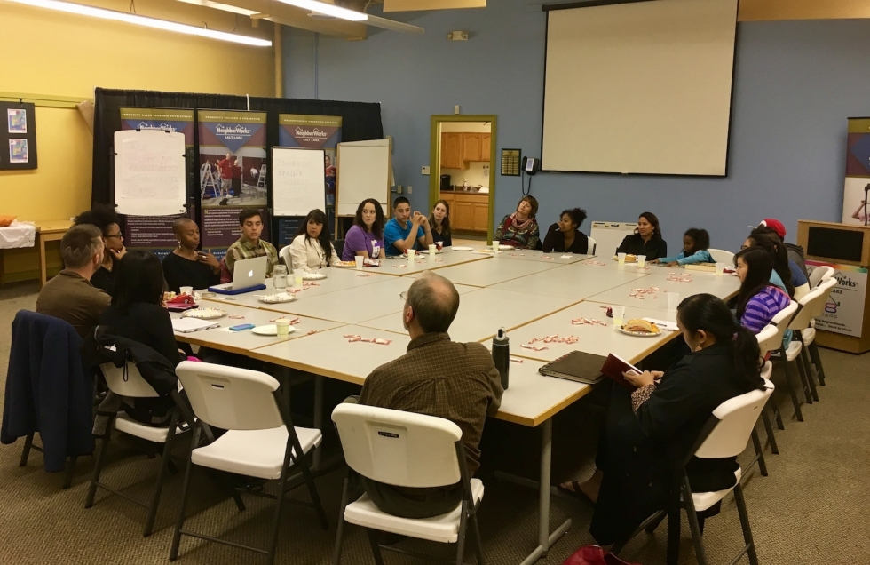 A group of community members of different ages and backgrounds come together to participate in meaningful conversation about diversity hosted by West View Media, and facilitated by Glendale residents Trinh Mai and Dane Hess in November 2016.  Photo by Charlotte Fife-Jepperson