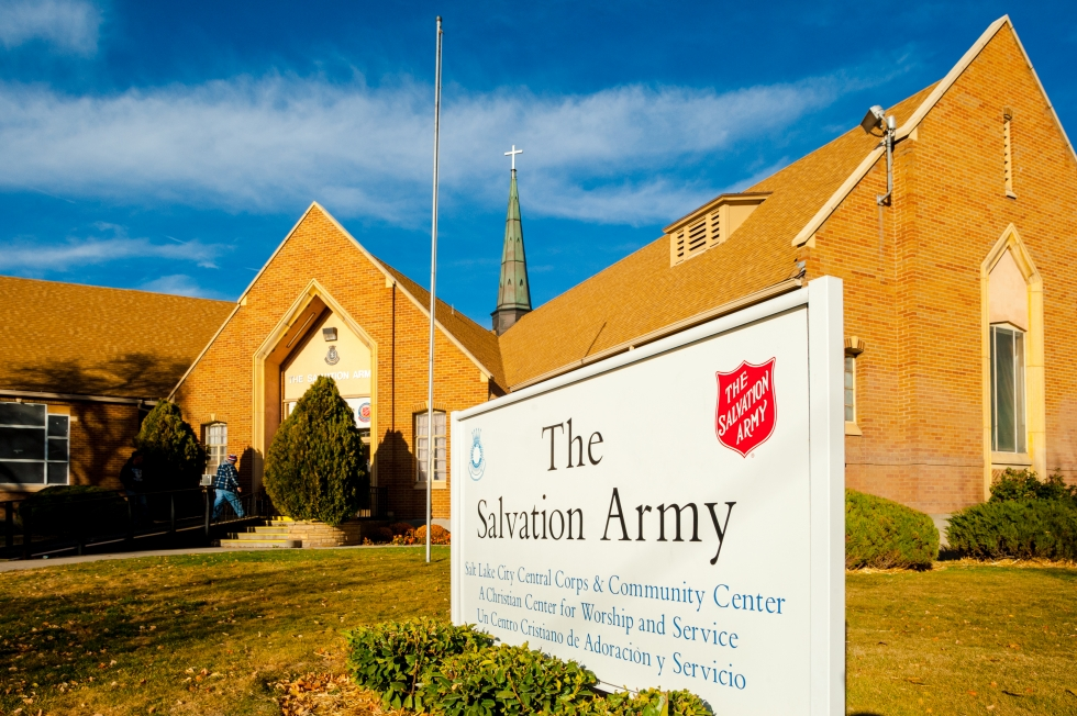 The Salvation Army church near 400 South and 900 West serves the west side community in a variety of ways, such as hosting Bible Study, Sunday Service, a food pantry, and childcare.   Photo by David Ricketts