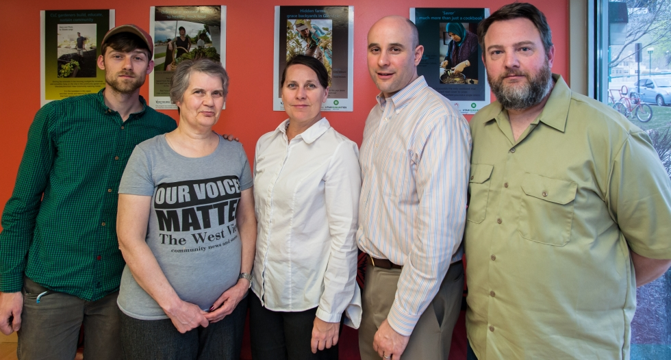 West View Media Board of Directors (from left to right) Davey Davis, Dorothy Owen, Charlotte Fife-Jepperson (Executive Director), Jason Stevenson, and Troy Mumm pose for a photo at West View Media's office.     Photo by David Ricketts