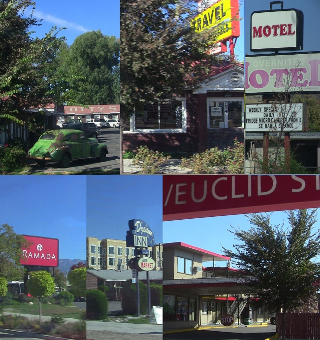 Clockwise from upper left: Rooftop sign for the old Scotty's Motel, office of All Star Travel Motel at 754 W., the Overniter Motel sign at 1500 W., Ramada sign at location of old Holiday Inn on Redwood Rd, Dream Inn historic sign at 1865 W., and entrance to Gateway Inn at 819 W.     Photo composite by Michael Evans||||