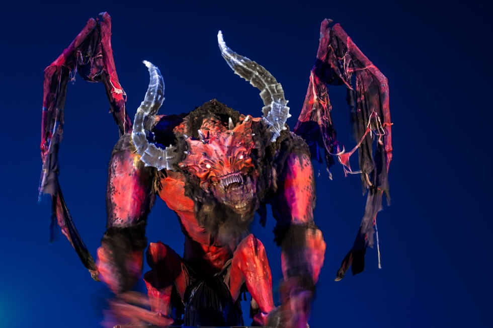 Two little girls became enchanted by a gargoyle and a dragon, which were similar to this devilish-looking creature that currently sits atop a pedestal near the front entrance to Nightmare on 13th at 320 W. 1300 South.    Photo by David Ricketts