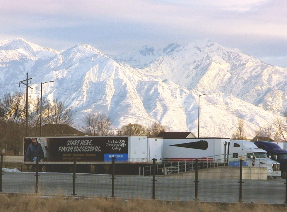 SLCC's School of Applied Technology and Technical Specialties (SATTS) at 1060 N. Flyer Way, between 2200 West and I-215, shows its presence on the full-sized trailers and tractors parked in the Truck Driving Range facing the freeway.