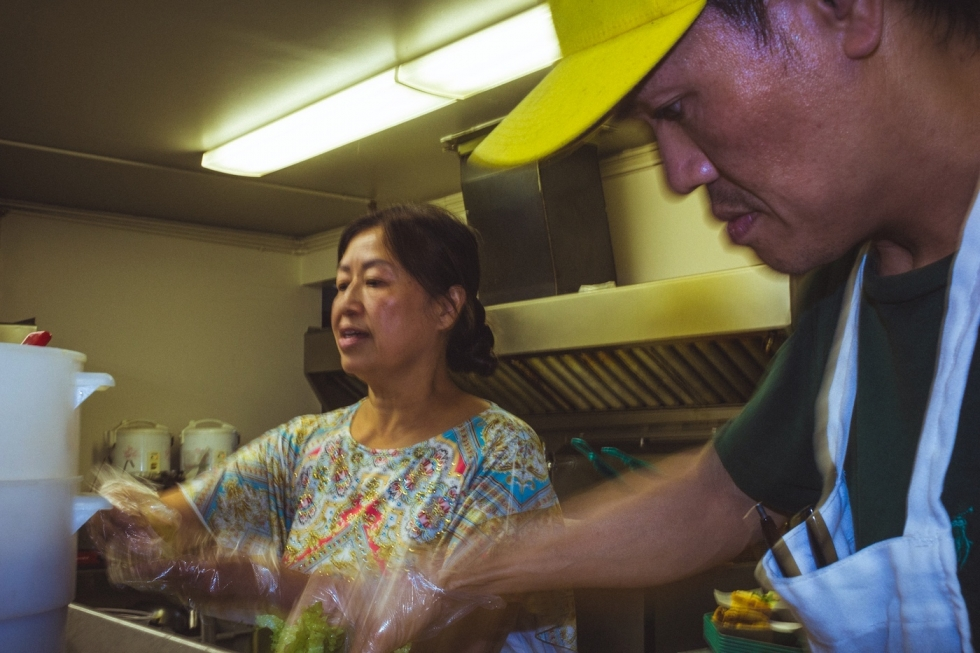 With a small staff and a lot of customers the sibling owners of All Chay, Binh Nguyen and Kim Hoa Nguyen, stay very busy in the kitchen.