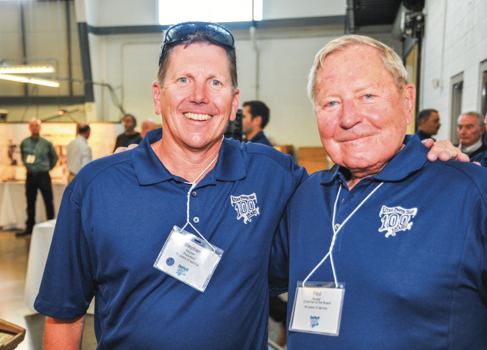 President Stephen J.Keyser (left)and Chairman/CEO Paul B. Keyser (right) of Utah PaperBox run a fourth generation family business, leading the way to cleaner air on Salt Lake City's west side. Photo by David Ricketts
