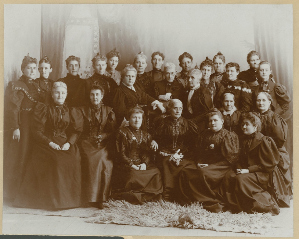 Susan B. Anthony led a suffrage convention in Salt Lake City in May 1895. Prominent Utah and Colorado suffragists joined her for this photo during her visit.  Credit: Courtesy of the Church History Library, The Church of Jesus Christ of Latter-day Saints.