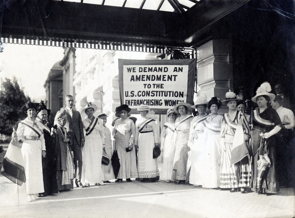 Utah and national suffrage leaders meet with Senator Reed Smoot on August 19, 1915.  Photo courtesy of National Woman's Party Collection, Belmont-Paul Women's Equality National Monument, Washington, DC.