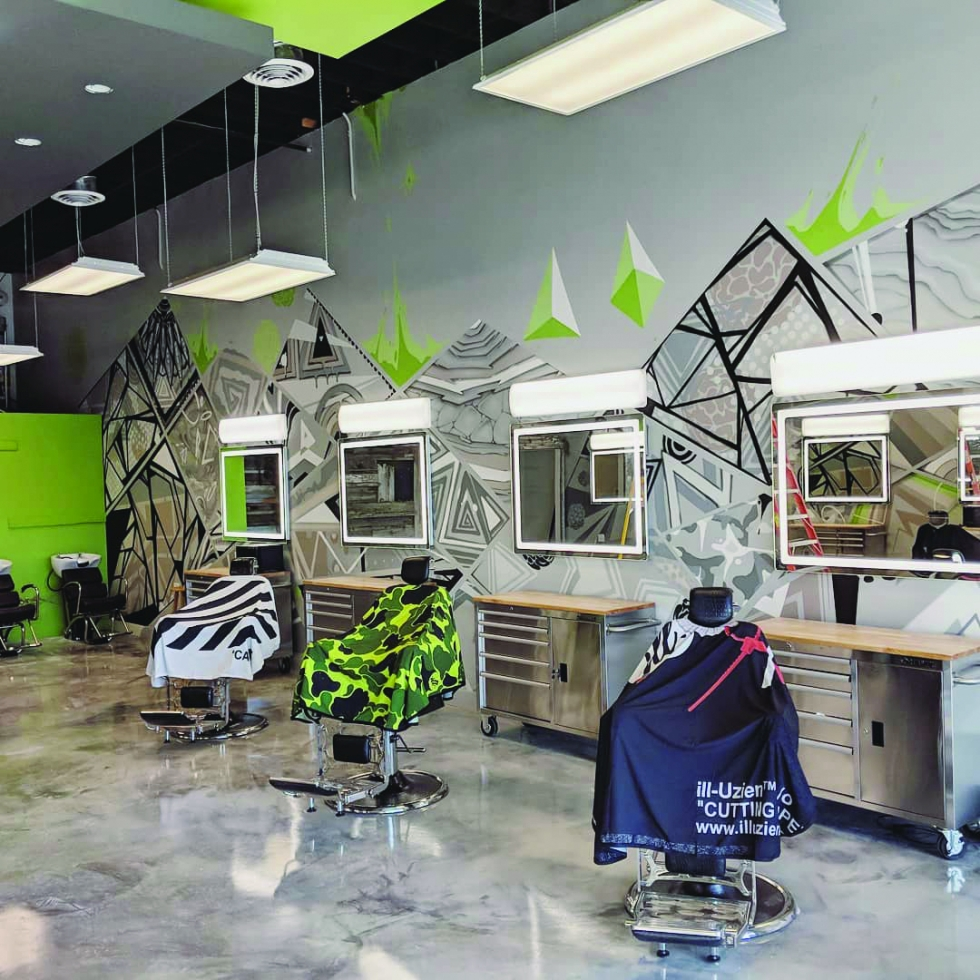 Modern urban interior design of Break Bread Barber Co. in Rose Park - the first of its kind in the area.    Photo courtesy of Break Bread Barber Co.
