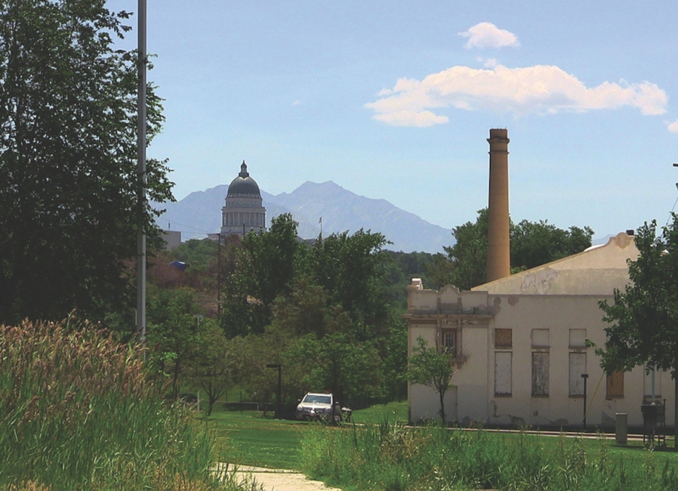 The old Wasatch/Warm Springs Plunge Building at the northwest foot of Salt Lake's Capitol Hill is central to the business plans of the Warm Spring Alliance who wish to re-create the site as a gathering place for the community centered around the natural mineral waters. Photo by Michael Evans.