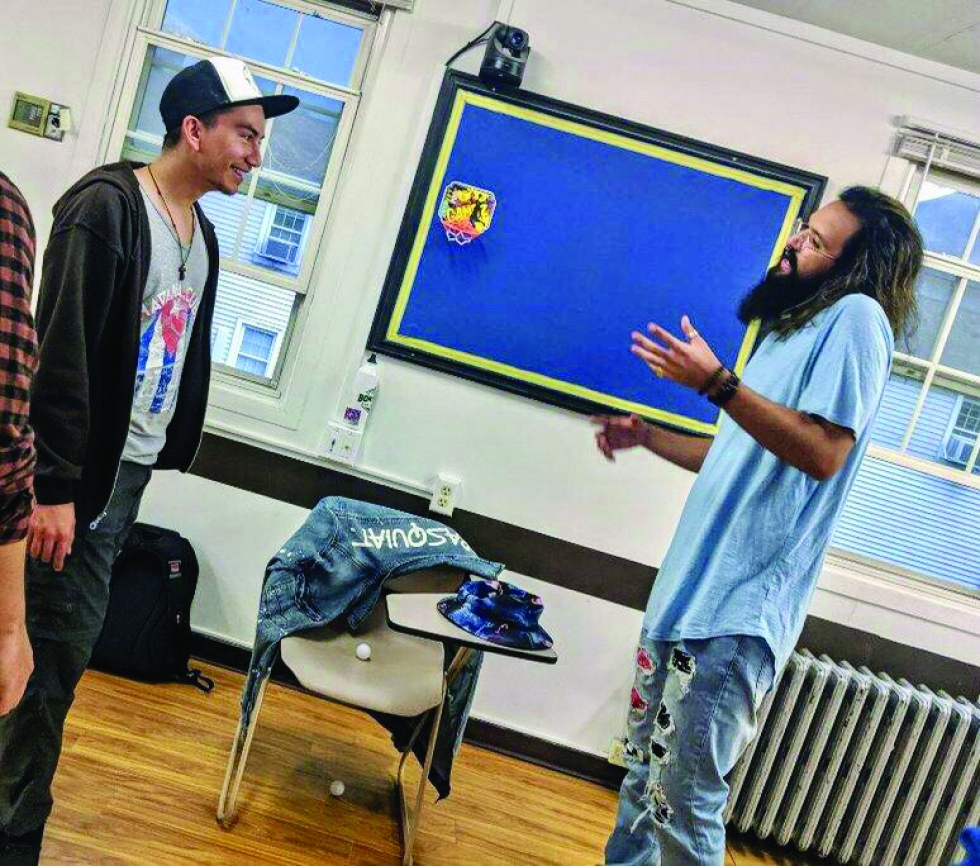 """Hip-hop Photo Caption:  Joaquin Galvan and Noah Hughes participate in a workshop through a Hip-hop club at the University of Utah called """"'73 til Infinity,"""" a homage to The Souls of Mischief. The club brings together a group of diverse Hip-hop creators.   Photos by Xris Macias"""