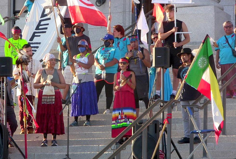 (L to R) Indigenous activists Davina Smith, Teyana Viscarra, and Carl Moore speak on the Utah State Capitol steps about social and environmental justice at the end of a 330-mile Prayer Run from Bears Ears to Salt Lake City on August 26.  Photos by Michael Evans