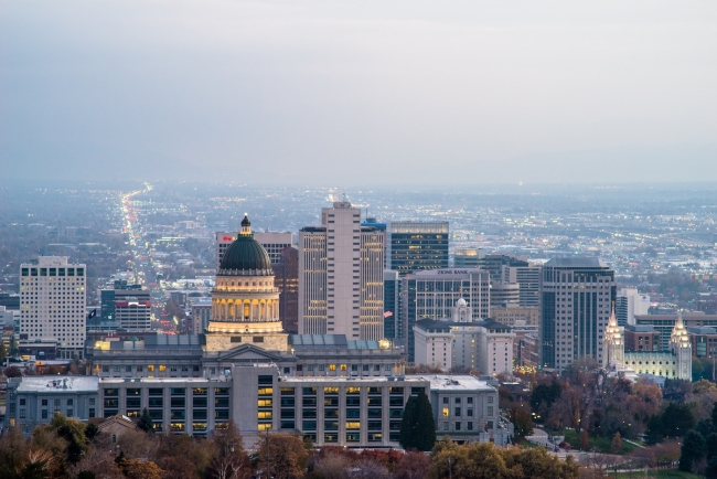 Light smog covers the valley below the Utah State Capitol at the beginning of the inversion season in mid-November. Inland Port opponents fear that the project will worsen air quality. PHOTO BY DAVID RICKETTS||||||