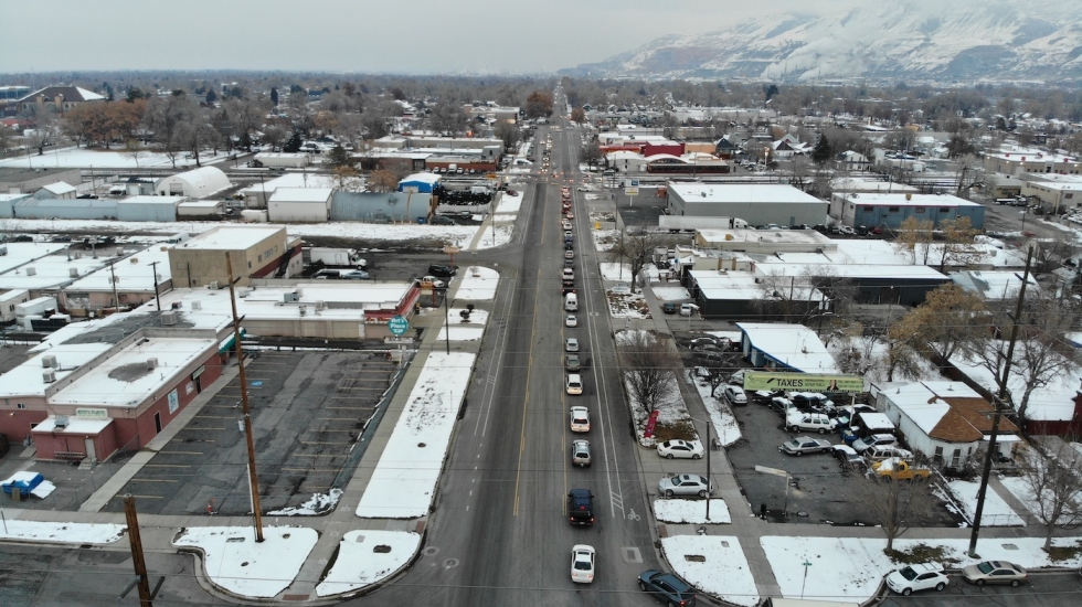 Traffic backs up for blocks on Dec. 5 around 5 p.m. because of a blocked railroad crossing at South Temple. AERIAL PHOTO BY CAMERON JEPPERSON