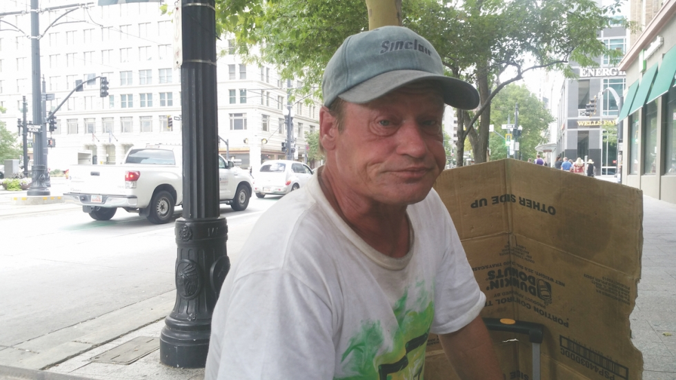 Veteran Mike Hilton-Dalton speaks with a West View reporter in downtown Salt Lake City. He has contemplated suicide numerous times, claiming that the general public is entirely indifferent towards the homeless.