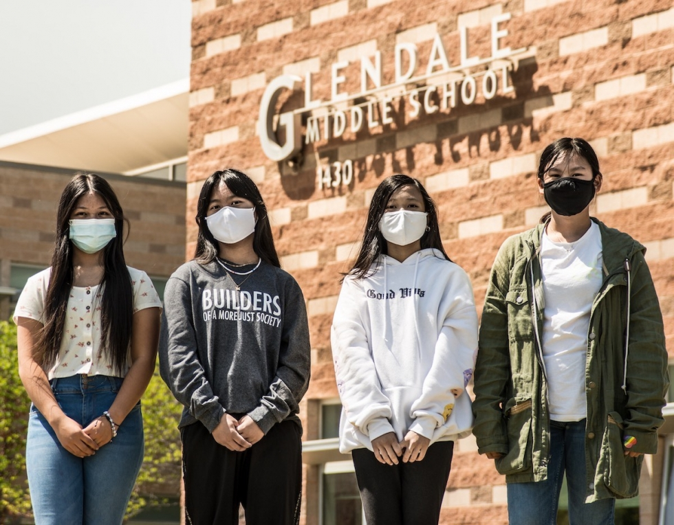From left to right: Snow Paw, Dim Hung, Nor Aung and Yen Su, 6th graders at Glendale Middle School, are highly involved in their school through the Glendale Buzz (school newscast), Outdoor Rec, Anime and Volleyball Clubs.    Photo By David Ricketts