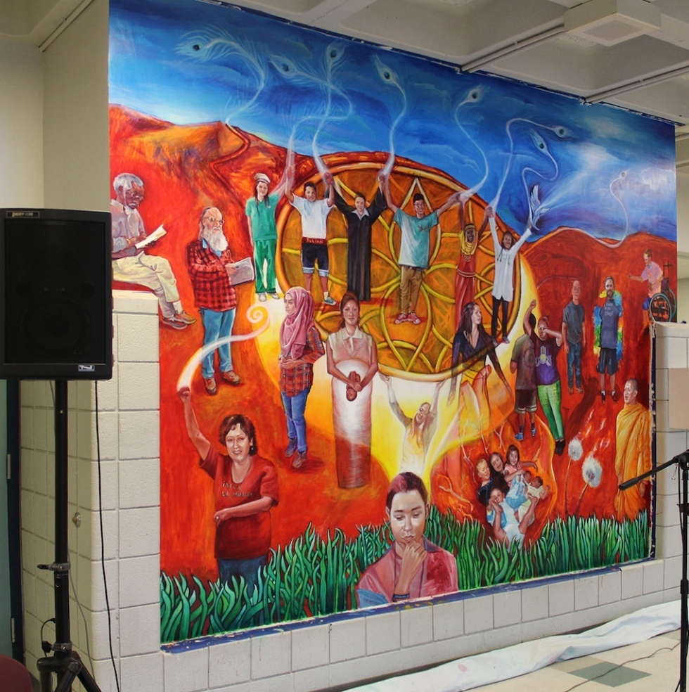 """""""Pursuit of Dream(ers)"""" was officially unveiled on May 22, 2015. There were twenty individuals involved in this project at the beginning, with an ongoing design team of five artists, and two students working each day during the painting phase of the project."""