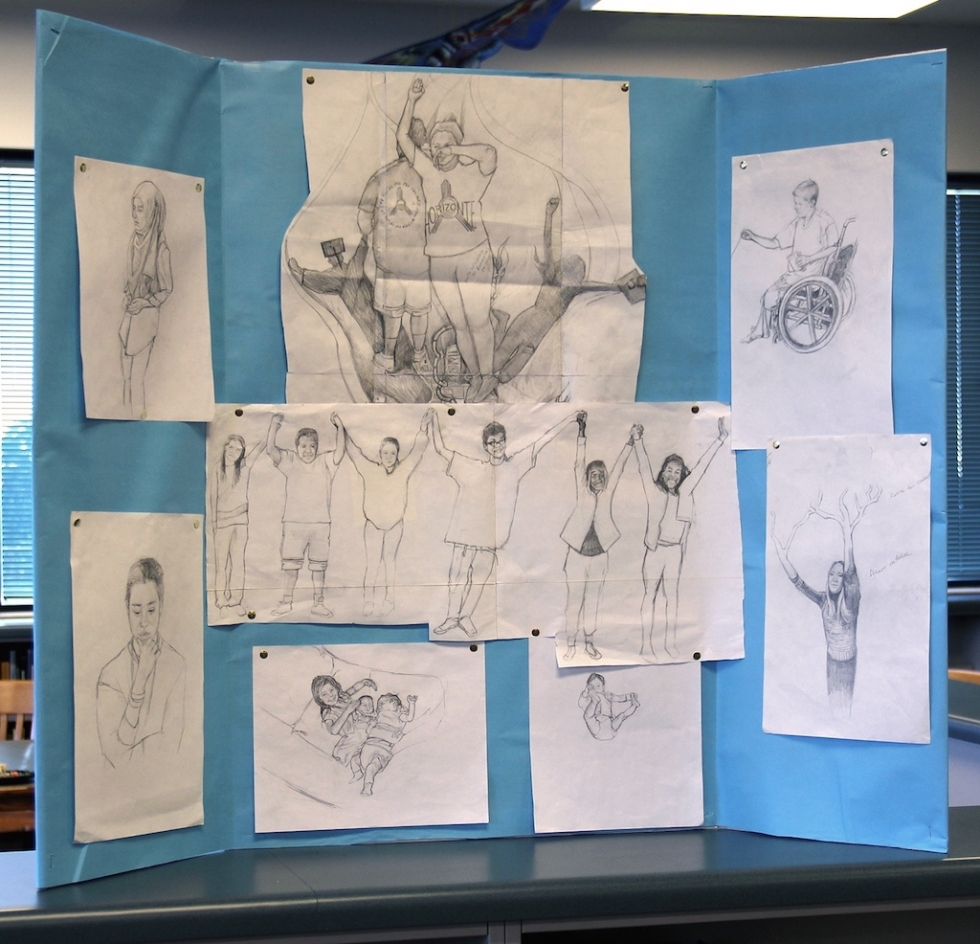 """These process drawings were displayed at the reception prior to """"Pursuit of Dream(ers)"""" in the library at Horizonte. They are derived from photographs, collages, photocopies, and student tracings done with school windows substituting for light tables. Ruby Chacon rendered them from their original varied forms to create the final full-color mural. """"Drawings are like musical scales for musicians,"""" says Chacon."""
