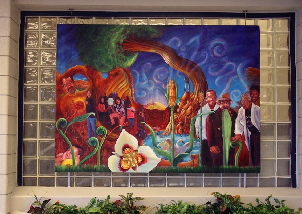 This painting is the second Chacon mural to grace Horizonte. It was a collaborative project involving current students. Located in the east lobby, it welcomes one and all – portraying Horizonte's inclusivity, and was painted five years ago on the eve of former administrator James Anderson's retirement.