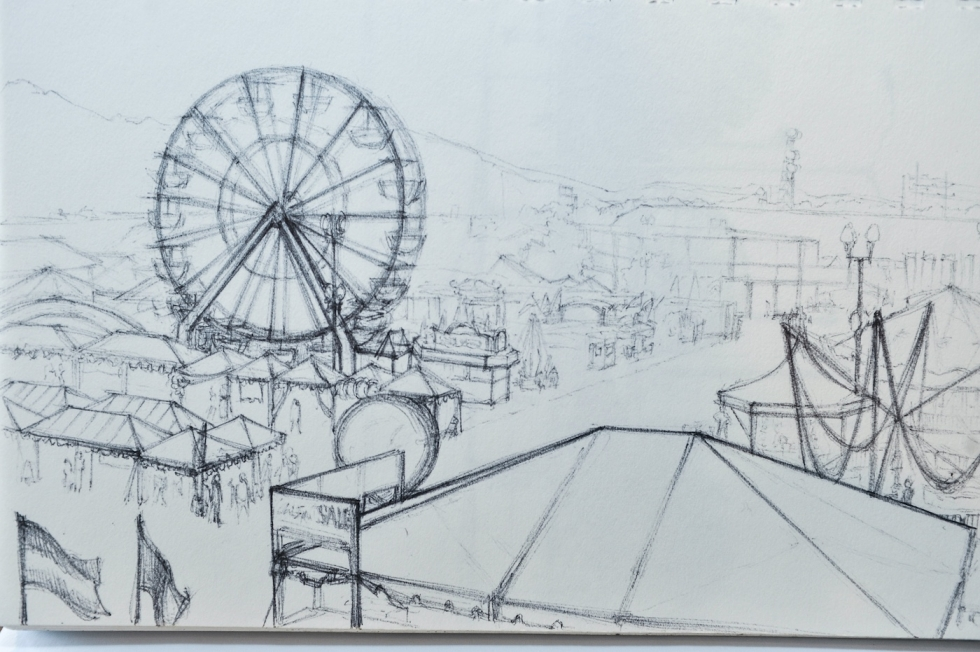 One of many drawings of the Utah State Fair that Ann Pineda has sketched over the years.
