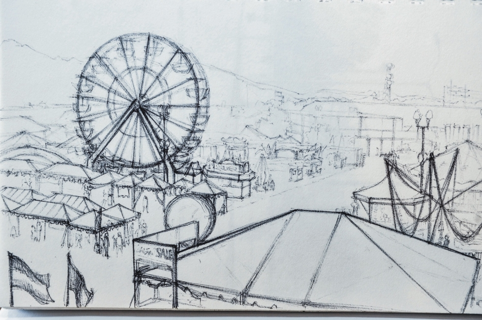 Sketch made by artist and nearby resident Ann Pineda, who would love to see the traditional facilities and uses of the fairgrounds preserved. Photo by David Ricketts