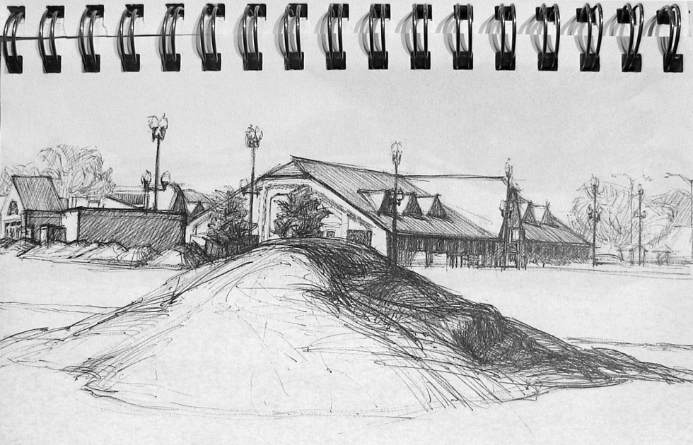 """From Ann Pineda's sketchbook """"I love the big paved parking lot that is used for vehicle safety events, and the big dirt and gravel lot that can be used for things that cannot be done anywhere else in the city. Small bulldozers dig temporary trenches and build small mountain ranges."""" Photo by Michael Evans"""