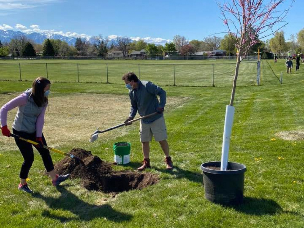 On April 24, Arbor Day, SLC Mayor Mendenhall kicked off her 1,000-tree initiative on SLC's West Side by planting a tree with her husband, former City Councilmember Kyle LaMalfa at Rosewood Park, 1400 North 1200 West.