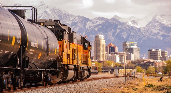 Downtown Salt Lake City, viewed across the tracks.  Photo by David Ricketts.||