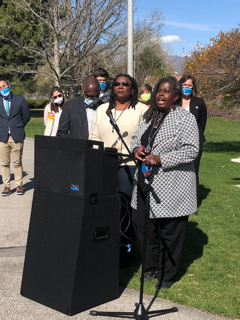 SLREP Commissioners Darlene McDonald and Carol Matthews-Shifflett make remarks at the International Peace Gardens on Tuesday, April 20, 2021 following the verdict of the trial for the murder of George Floyd.