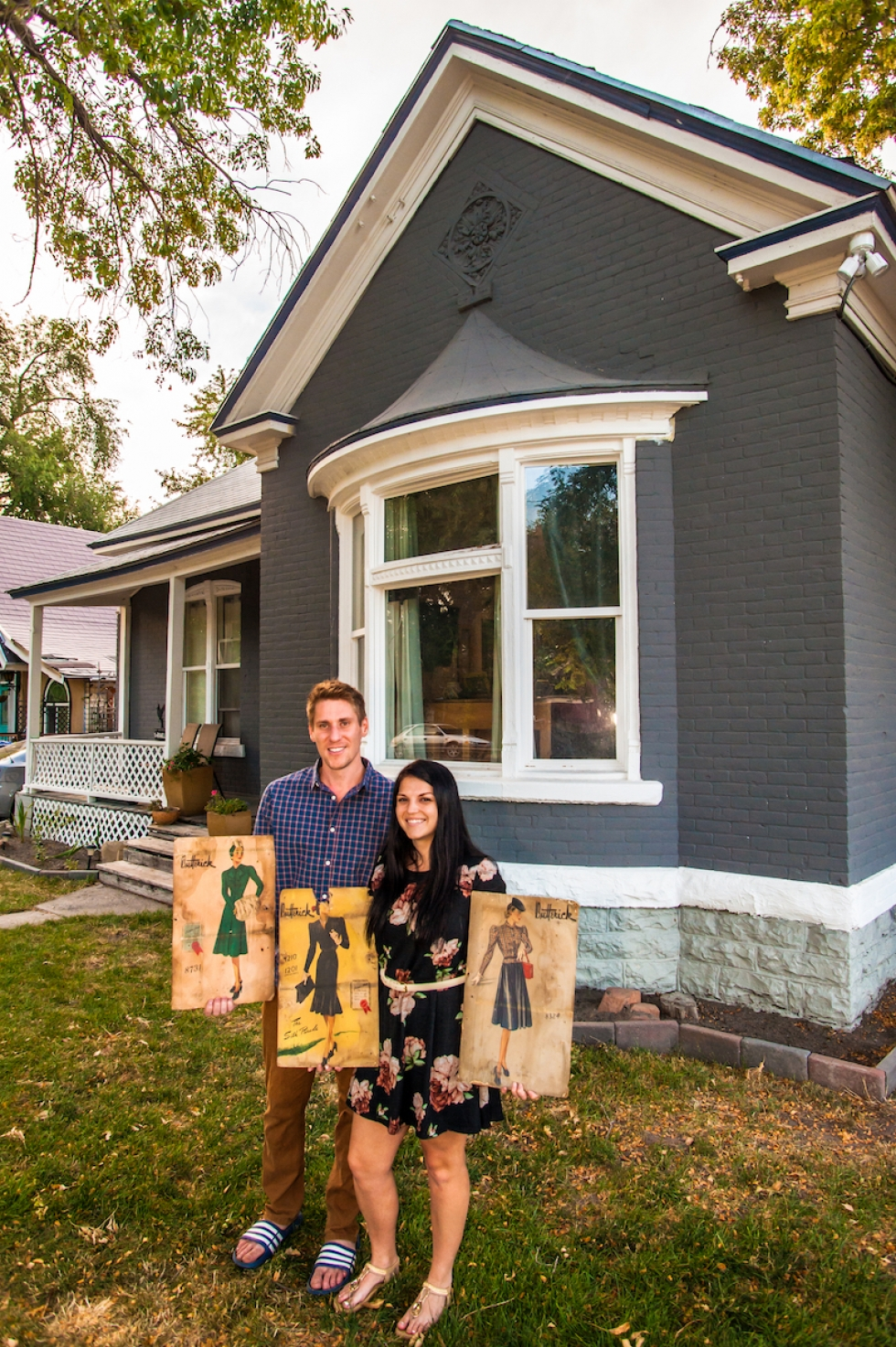 When Taylor and Ramie tore down an old, dilapidated garage on their property, they found some old, 1950s sewing patterns that had been used as insulation in between the walls.