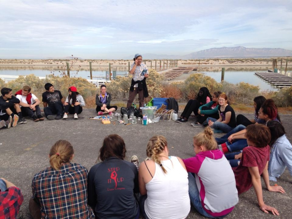 Salt Lake Center for Science Education chemistry students study hands on science at the Great Salt Lake with teacher Shea Wickelson.