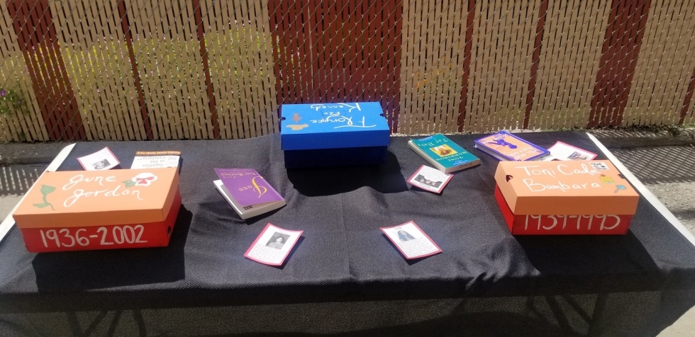 Curated shoeboxes and mini bios of Black Female activists