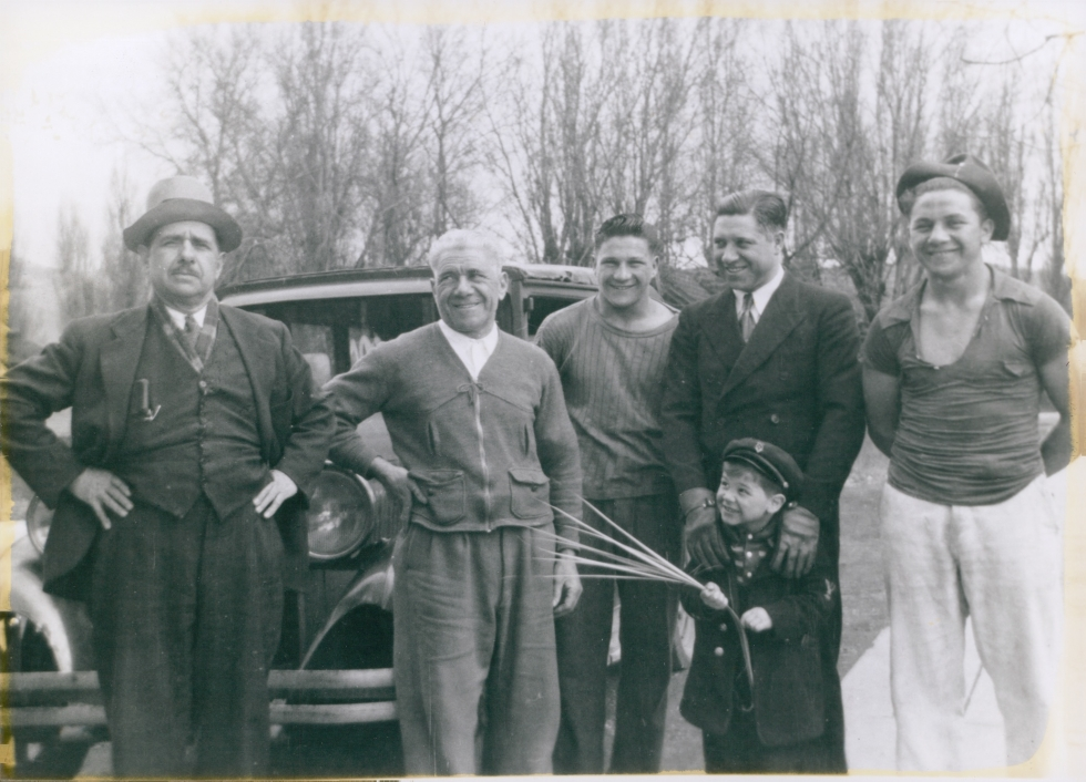 ony Caputo's great uncle Giacomo, his grandfather Rosario, his father Dominic, his uncle Jay, his uncle John and the child is his cousin Alfredo. The photo was taken on Palm Sunday, ~1945