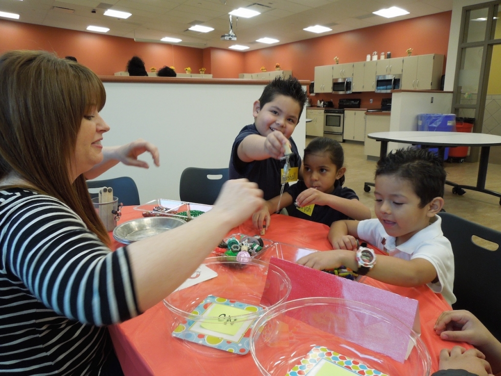 A group of Pre-K students participate in a science activity day provided through the University of Utah Department of Family and Consumer Studies at the Glendale-Mountainview Community Learning Center.