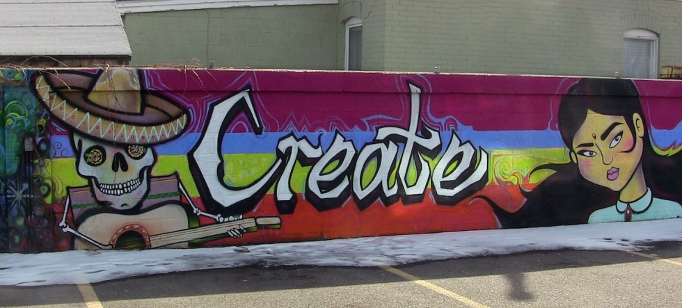 In an effort to integrate into the west side and get people to feel some ownership, Sugar Space partnered with professional artists and youth from the Sorenson Unity Center to create a mural in their parking lot.