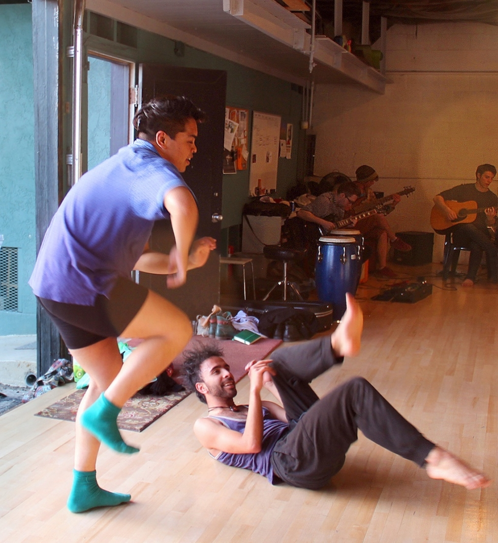 (Left) Dancer Keanu Brady rehearses in the green Studio Building at Sugar Space, which has been the scene of uncounted dance rehearsals, workshops, and shows.