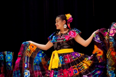 Ballet Folklorico dancers from West Side Dance, founded by Maxine Lucero, perform at Jackson Elementary.